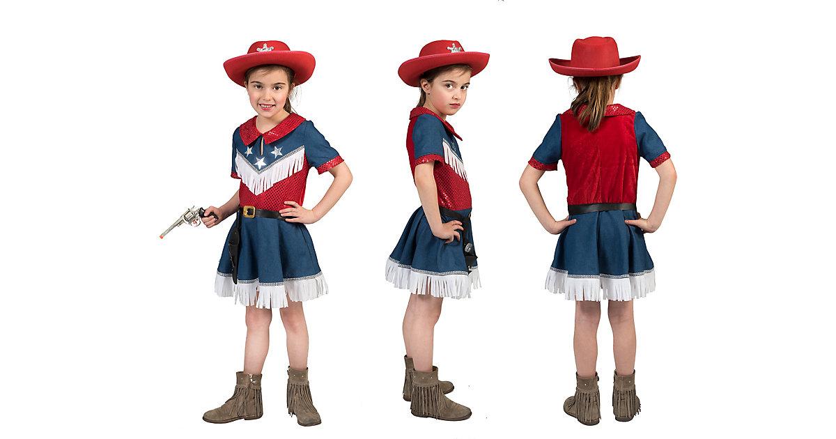 Kinde Karnevalskostüm Cowboy Kleid Gr 140 mehrfarbig Mädchen Kinder