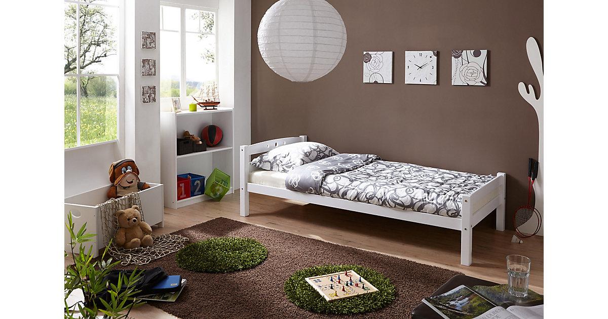 """Einzelbett """"Lupo"""" Buche massiv Weiß weiß Gr. 90 x 200"""