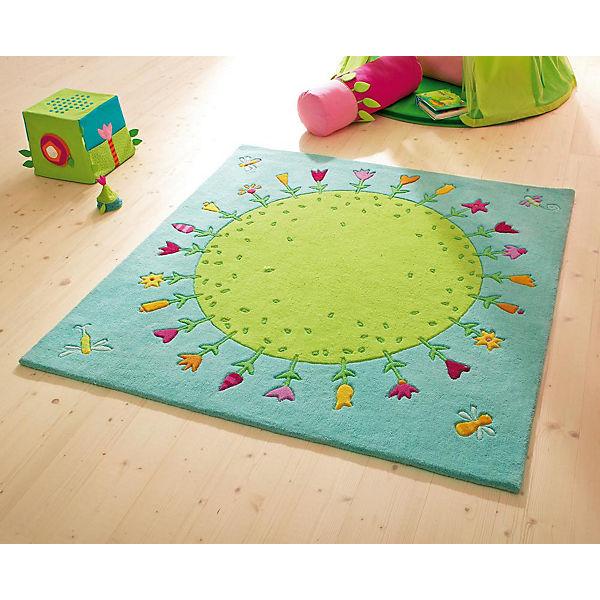 Kinderteppich grün  HABA 2973 Kinderteppich Blumenplanet, 150 x 150 cm, grün/blau ...