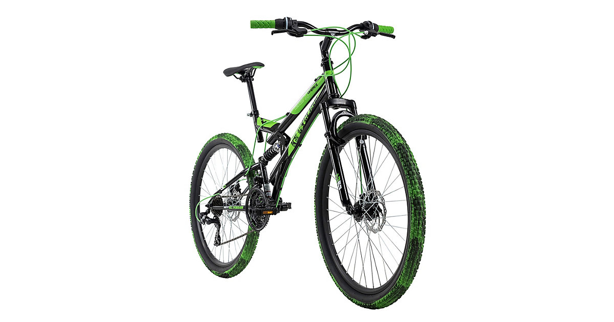 Fully Mountainbike Crusher 26 Zoll Mountainbikes, Rahmenhöhe: schwarz/grün