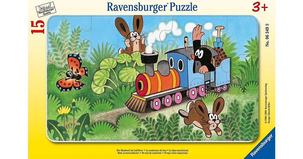 Rahmen-Puzzle, 15 Teile, 25x14,5 cm,  Der Maulwurf als Lokführer