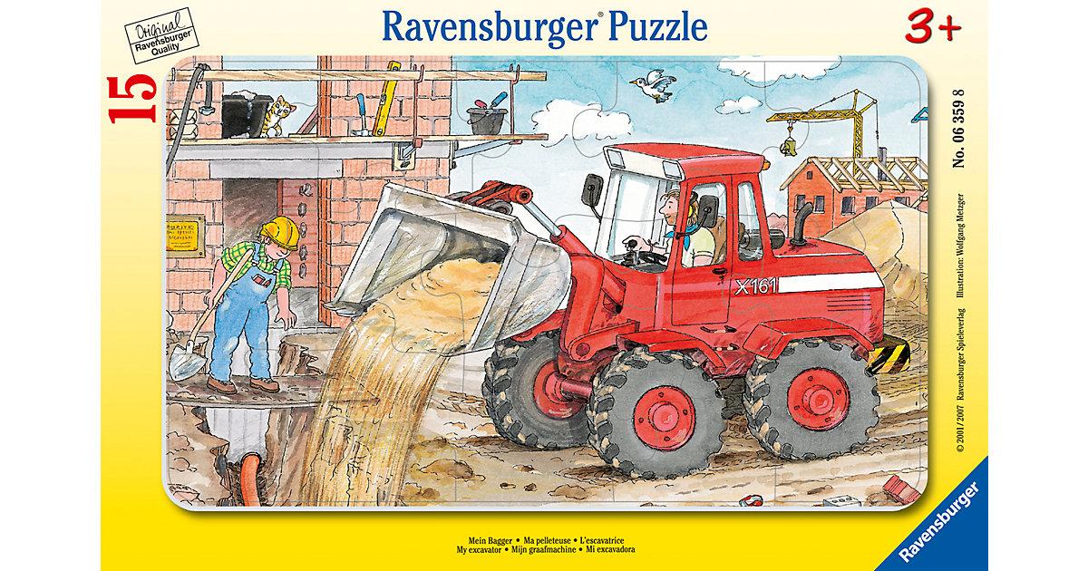 Rahmen-Puzzle, 15 Teile, 25x14,5 cm, Mein Bagger