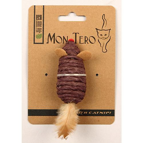 Игрушка для кошки Mon Tero Эко мышка с перьями и кошачьей мятой, 7,6 см