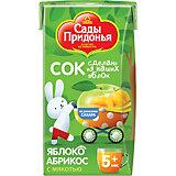 Сок Сады Придонья яблоко абрикос с мякостью с 5 мес, 18 шт по 125 г