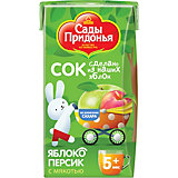 Сок Сады Придонья яблоко персик с мякостью с 5 мес, 18 шт по 125 г