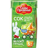 Сок Сады Придонья яблоко груша с мякостью с 5 мес, 18 шт по 125 г