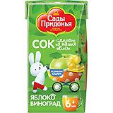 Сок Сады Придонья яблоко виноград с 6 мес, 18 шт по 125 г