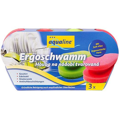 Аквалайн Эргономичная губка для мытья посуды, 3 шт