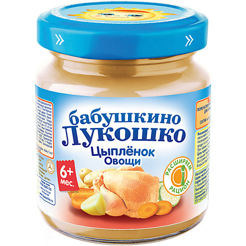Пюре Бабушкино Лукошко цыплёнок овощи, с 6 мес, 6 шт х 100 г от Бабушкино Лукошко