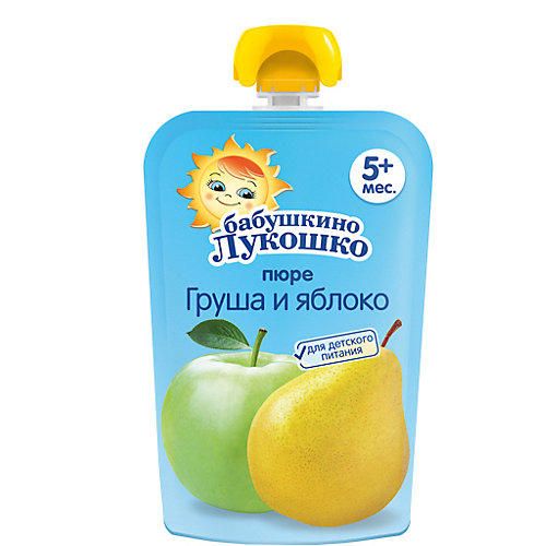 Пюре Бабушкино Лукошко груша и яблоко, с 5 мес, 12 шт х 90 г от Бабушкино Лукошко