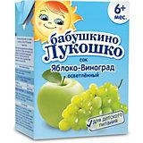 Сок Бабушкино Лукошко яблоко виноград осветлённый, с 6 мес, 200 мл х 18 шт