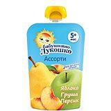 Пюре Бабушкино Лукошко яблоко груша персик, с 5 мес, 12 шт х 90 г