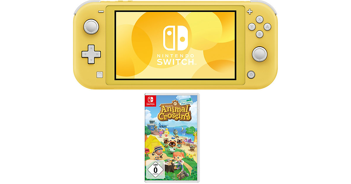 Switch Lite Konsole, gelb + Videospiel Animal Crossing: New Horizons