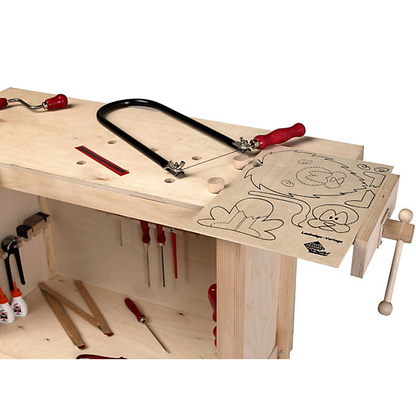 kinderwerkbank aus holz h henverstellbar pebaro mytoys. Black Bedroom Furniture Sets. Home Design Ideas