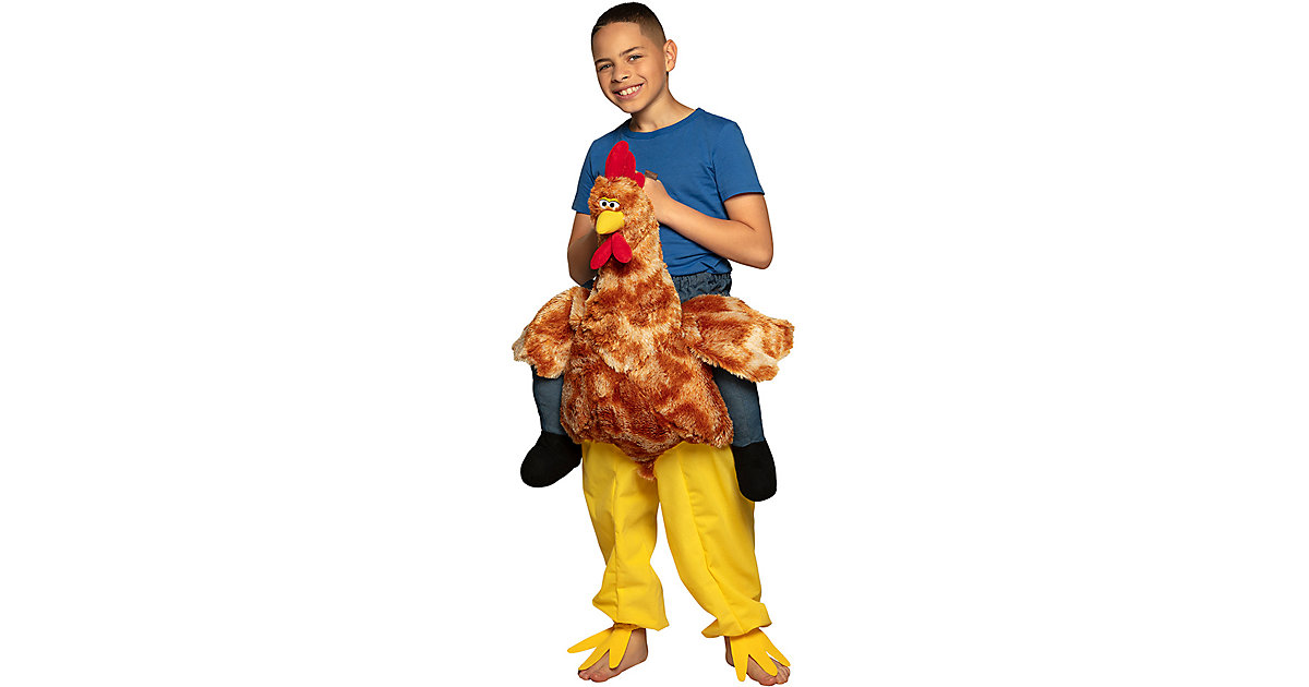 Kinderkostüm Auf einem Huhn (Einheitsgröße) gelb Gr. one size