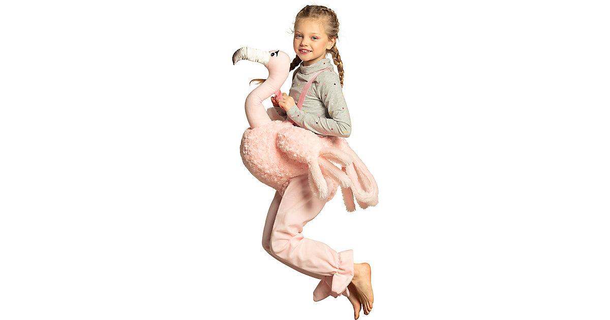 Kinderkostüm Auf einem Flamingo (Einheitsgröße) rosa Gr. one size Mädchen Kinder