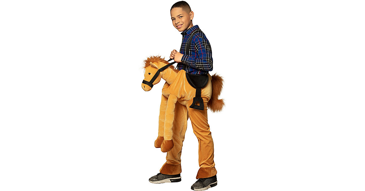 Kinderkostüm Auf einem Pferd (Einheitsgröße) braun Gr. one size Mädchen Kinder