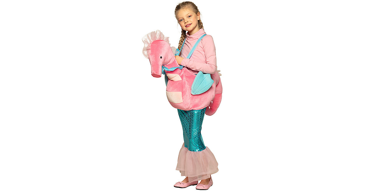 Kinderkostüm Auf einem Seepferdchen (Einheitsgröße) rosa Gr. one size Mädchen Kinder