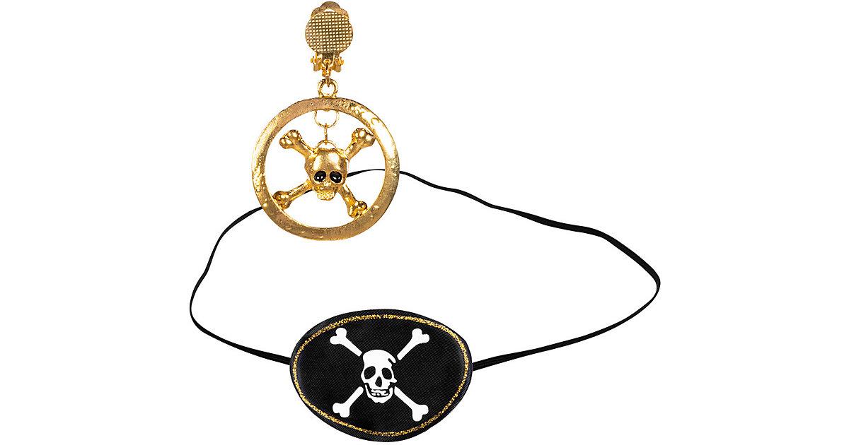 Piratenset (Augenklappe und Ohrring)