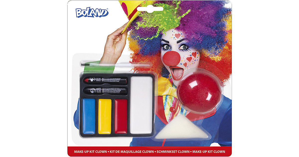 Schminkset Clown (Clownnase, Schminkfarben, Schwamm, und Pinsel)