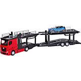 Игровой набор Bburago Street fire Mercedes-benz actors multicar carrier, 1:43 красный
