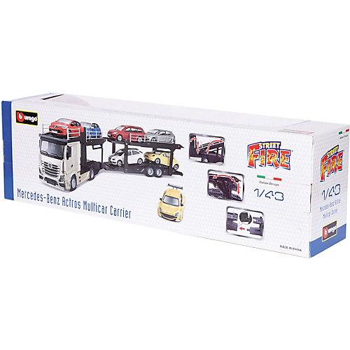 Игровой набор Bburago Street fire Mercedes-benz actors multicar carrier, 1:43 красный от Bburago