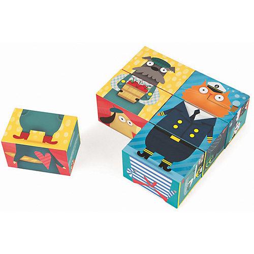 """Кубики Janod """"Комбинируй и сопоставь. Кот и пес"""", 6 кубиков от Janod"""