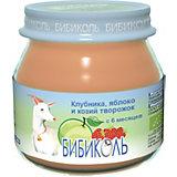Пюре Бибиколь клубника, черника и козий творожок с 6 мес, 6 шт по 80 г