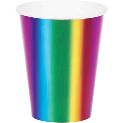 8 Papp-Becher Rainbow-Party, 256 ml