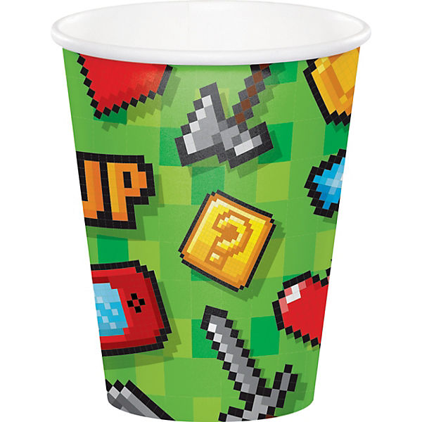 8 Papp-Becher Gaming-Party, 256 ml