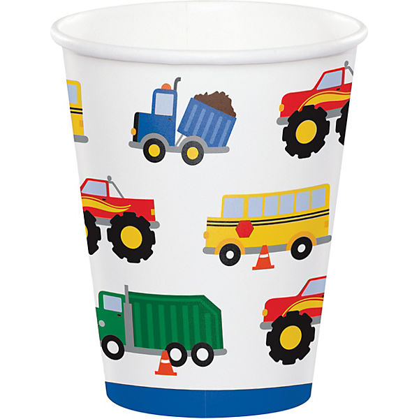 8 Papp-Becher Auto-Party, 256 ml