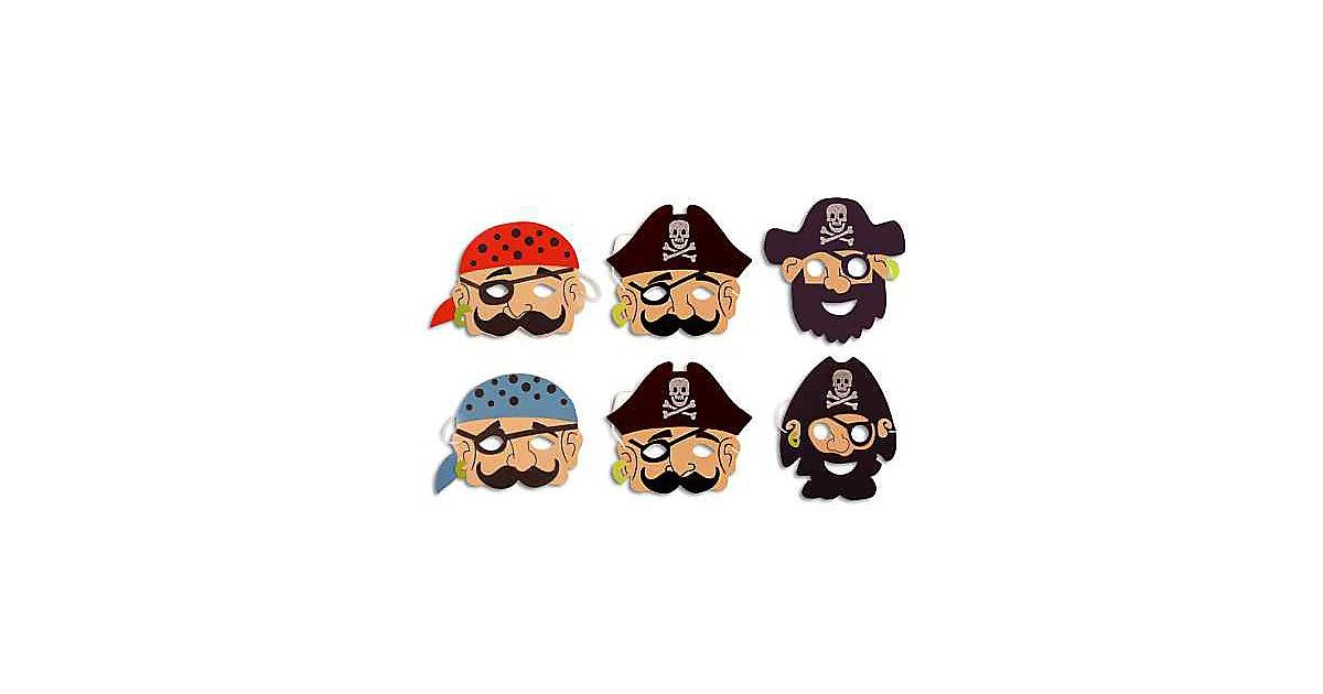 Moosgummimasken Piraten, 6 Stück Jungen Kinder