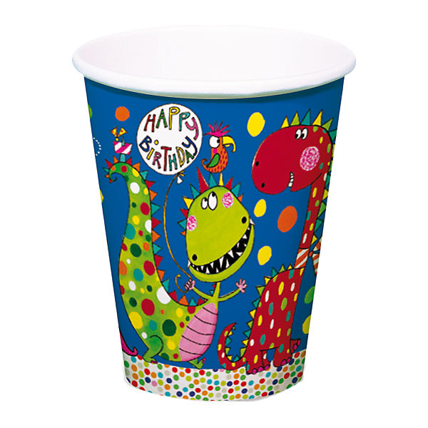 8 Papp-Becher Frecher Dino, 200 ml