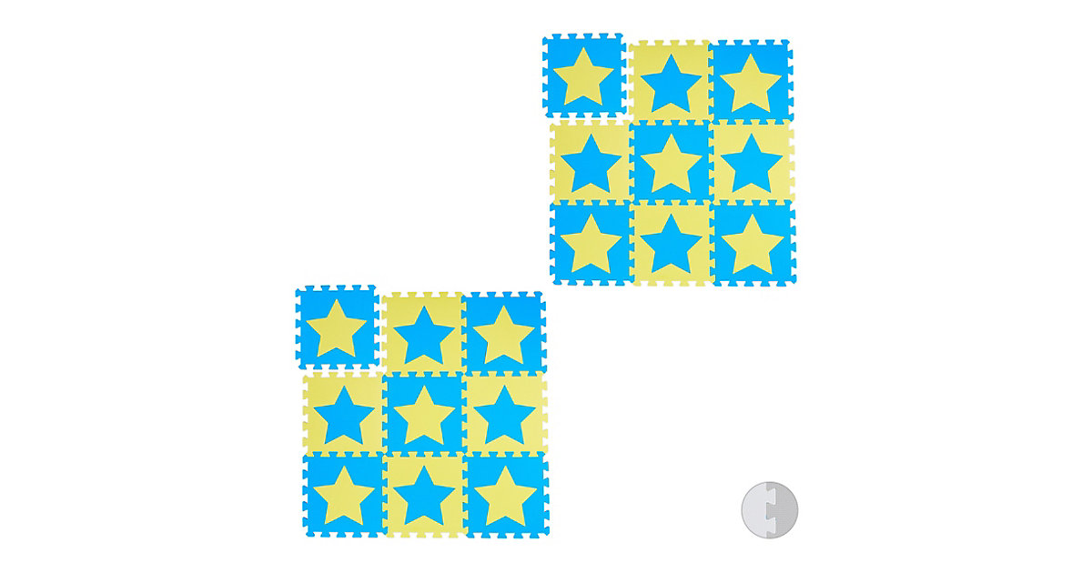 18 x Puzzlematte Sterne Krabbelmatte Baby Play Mat Spielematte Puzzleteppich gelb-kombi