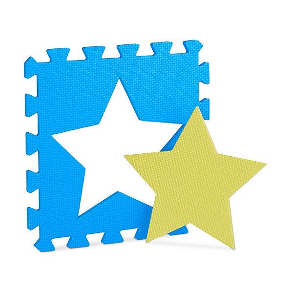 18 x Puzzlematte Sterne Krabbelmatte Baby Play Mat Spielematte Puzzleteppich, relaxdays GO0AIQ