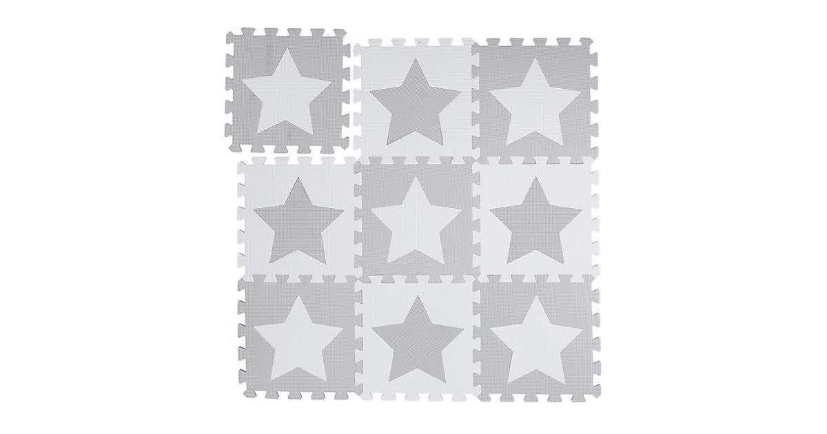 9 x Puzzlematte Sterne grau Spielmatte Krabbelmatte Puzzleteppich Kindermatte weiß-kombi
