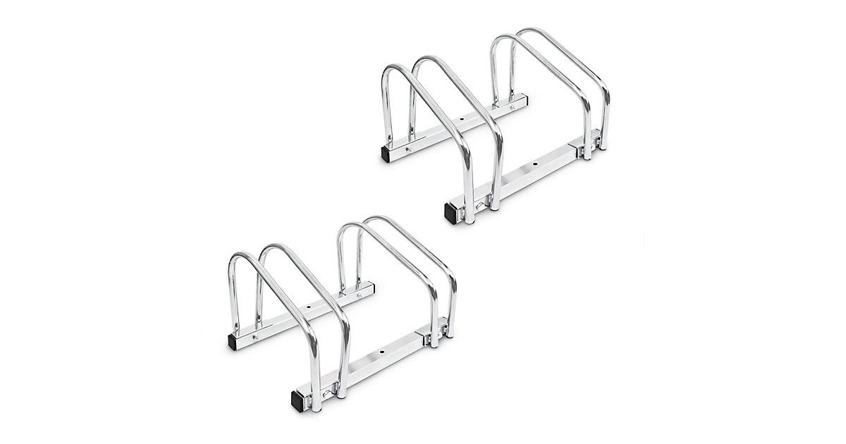 2 x Fahrradständer, Ständer Stahl, Fahrradhalter Wand Boden je 2 Fahrräder silber  Erwachsene