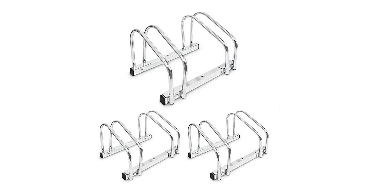 3 x Fahrradständer Stahl Fahrradparker Fahrradhalter Ständer doppelt Wand Boden silber
