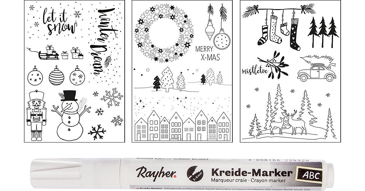 Fenster Malvorlagen Winter & Weihnachten, 3 Vorlagen + 1 Kreidemarker weiß/beige