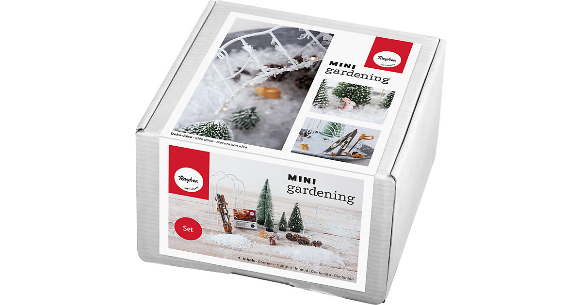 Mini-Gardening-Set Snowfeeling, 18-tlg., weiß, Karton weiß/beige
