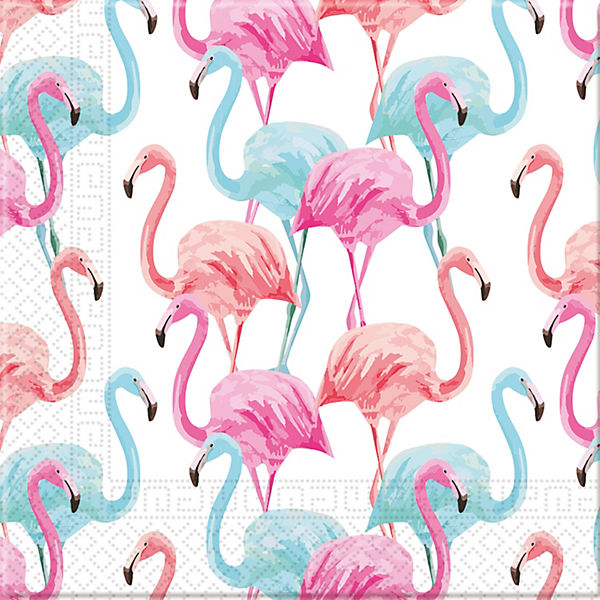 Servietten Tropical Flamingo - kompostierbar 3-lagig  33x33cm, 20 Stück