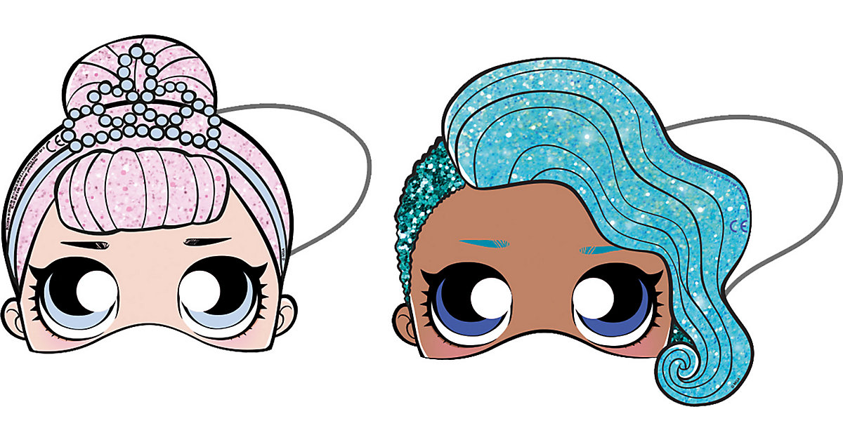 Papiermasken LOL Glitterati ausgestanzt, 6 Stück Mädchen Kinder