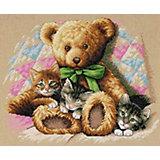 """Набор для вышивания """"Мишка и котята""""   36 x 30 см"""
