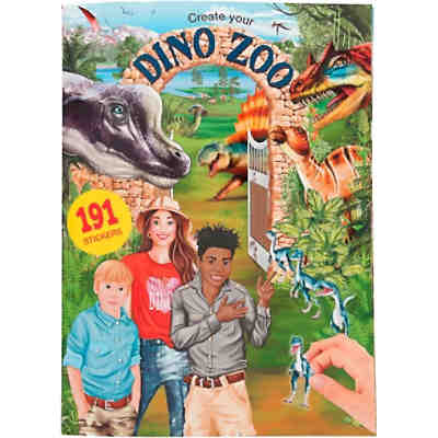 Create your DINO ZOO, Malbuch mit Stickern