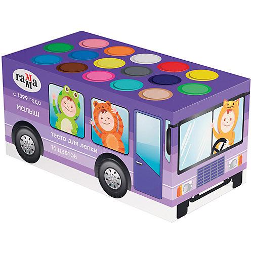 "Тесто для лепки Гамма ""Малыш. Автобус"", 16 цветов от ГАММА"