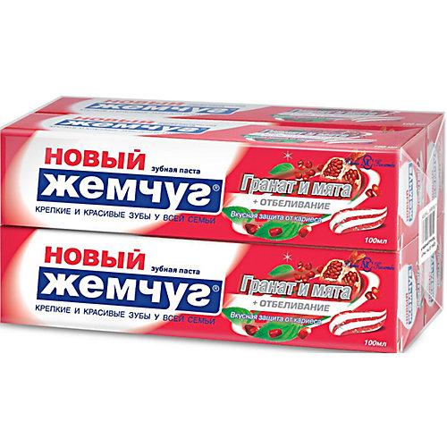 Зубная паста Новый Жемчуг Гранат и мята и отбеливание, 100 мл, 4 шт