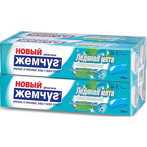 Зубная паста Новый Жемчуг Ледяная мята + отбеливание, 100 мл, 4 шт