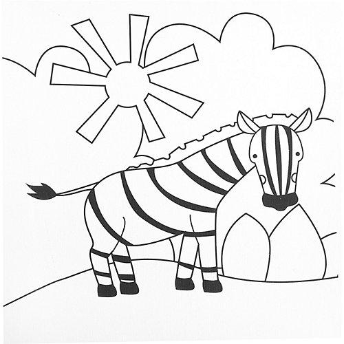 """Набор для рисования по холсту Bondibon """"Зебра"""", 25х25 см от Bondibon"""