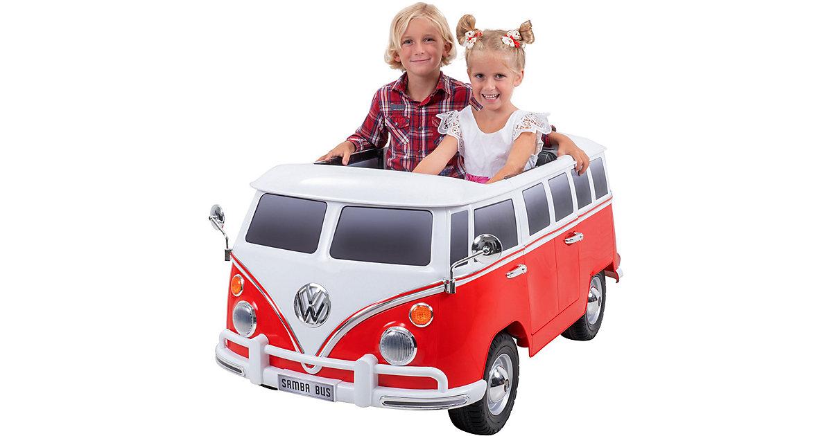 Kinder Elektroauto VW Bus Bulli T1 Samba Camper Lizenziert rot/weiß