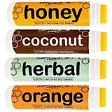 Набор бальзамов для губ  Сделано пчелой  Coconut, Медовый, Herbal, Orange, 17 г